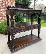 Antique English Server Sideboard Buffet 3-tier Gothic Revival Oak 2 Drawers 1890