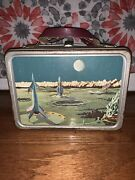 Vintage Thermos Space Age Rocket Astronaut Metal Lunch Box School Children's Toy