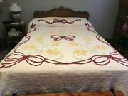 Vintage White Floral Chenille Bedspread 100 X 90 Inches Cutter Or Not