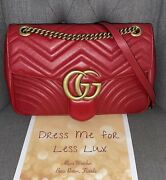 - Hibiscus Red Quilted Leather Marmont Large Shoulder Bag - Brand New 2900