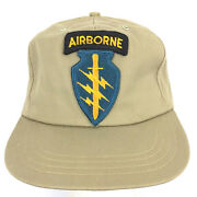 Vtg Airborne Special Forces Patch Cap Made Usa Script Logo Snap Back Trucker Hat