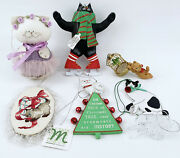 Assorted Kitty Cat Christmas Ornaments Lot Orange Black Glass Department 56