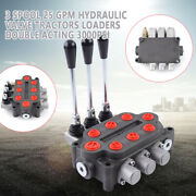 3 Spool Hydraulic Monoblock Double Acting Control Valve Tractors Loaders 25 Gpm