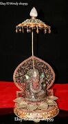 16 Nepal Silver Crystal Gold Turquoise Gems Ganapati Elephant Mammon Statue