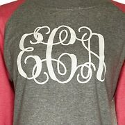 Monogrammed Sweatshirt Gray Coral Eac In White Script Size Large