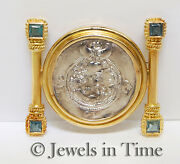 Silver Thailand Coin Brooch In 18k Yellow Gold With Aquamarines