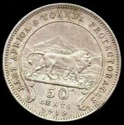 1919 East Africa And Uganda Protectorate 50 Cents Silver Rare Mintage 100000 Km9