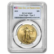 Pre-sale - 2021 1 Oz Gold Eagle Ms-69 Pcgs Type 2 First Day Of Production