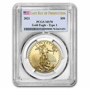 Pre-sale - 2021 1 Oz Gold Eagle Ms-70 Pcgs Type 1 Last Day Of Production
