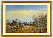 Gregory Sumida Gouache Painting On Board Signed Landscape Native American Art