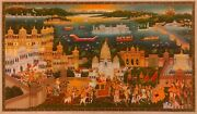 Original Hand Painted Golden Royal Maharaja Of Udaipur Procession Fine Painting