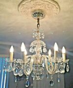 Exquisite Antique Italian Chandelier Lamp 28 Wide X 30 T 6 Arms Crystal Prisms