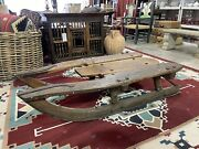 Rustic Primitive Antique Industrial Wood Logging Sled Coffee Table Wrought Iron