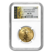 2013 1/2 Oz Gold American Eagle Ms-70 Ngc Early Releases - Sku 77362