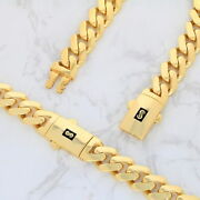10k Yellow Gold Miami Cuban 11mm Royal Monaco Curb Link Chain Necklace 18- 30