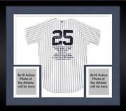Framed Mark Teixeira Signed Yankees Authentic Jersey And Embroidered Stats - Le 25