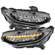 Anzo 16-17 Honda Civic Projector Headlights Plank Style Black W/amber/sequential