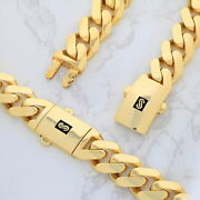 10k Yellow Gold Royal Monaco Miami Cuban Link Curb 15mm Wide Chain Necklace 22