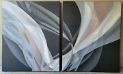 Anderson Rare Original Signed Pair Abstract Vintage Paintings 1980and039sreversible