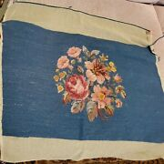 Antique Wool Needlepoint Tapestry Foot Stool Bench Cover 15x22 Blue Rose Floral