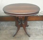 Antique 28 Victorian Walnut Oval Parlor Lamp Table W Fancy Inlay Nice Condition