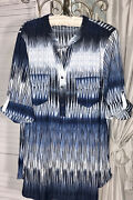 New Plus Size 2x Blue Blouse Pin Tuck Top Jersey Cocomo Button Shirt