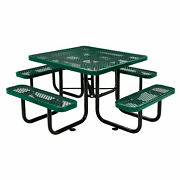 46 Expanded Metal Square Picnic Table Green