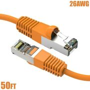 50ft Cat6 Network Lan Ethernet Sstp Shielded Patch Cable 26awg Copper Orange