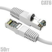 50ft Cat6 Rj45 Ethernet Lan Network Sstp Shielded Patch Cable Copper 26awg White