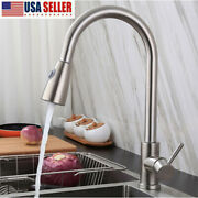 Brushed Kitchen Faucet Swivel Spout Single Handle Sink Pull Down Spray Mixer Tap