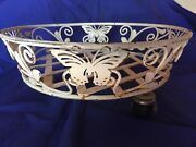 Vtg Wrought Iron Plant Stand Holder Rolling Coaster Round Casters Butterfiles