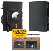 Airtag Wallet Genuine Leather Credit Card Money Holder Air Tag Case Airtag Cover