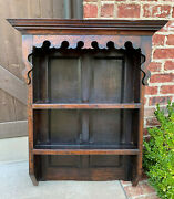 Antique English Plate Rack Wall Shelf Bookcase Hanging Carved Oak Pegged C. 1900