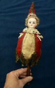 Antique French Marotte Doll Toy Plays Music All Original Pierced Ears