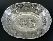 Antique 1917 Dutch Silver Colonial Style Hand Chased Centerpiece Cabinet Bowl