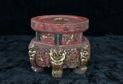 Antique Chinese Red And Gilt Wood Carving / Altar Stand W Foo Dog / Lion, 19th C