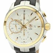 Auth Tag Heuer Watch Link Calibre 16 Cat2050 Chronograph K18pg Ss Leather At F/s