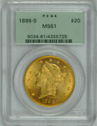 1898 S 20 Gold Liberty Double Eagle Ms 61 Pcgs Ogh