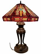 """Large Vintage Style Colorful Stained Glass Table Lamp 27"""""""
