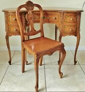Antique/vtg Solid Wood Hand Carved And Painted Flowers Kidney Shaped Desk And Chair
