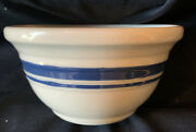 """Roseville Ohio Blue Band Ring Stripe Fp Usa Oven Proof Pottery Bowl 6.25"""" Dia."""