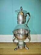 Vintage Silver Plated And Glass Coffee Tea Carafe Pot With Warmer Stand Leonard