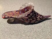 Vintage Murano Italy Millefiori Frosted Glass Collectable Shoe