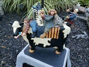 Williraye Studio Blue Moon Express Kids And Cats Riding On Cow Collectible Ww1314