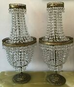 Pair Of French Empire Style Crystal Glass And Bronze Three-light Table Lamps