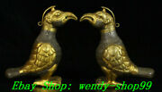 5 Antique Old Chinese Tang Dynasty Bronze 24 K Gold Phoenix Phenix Statue Pair