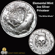 Elemental Mint Privateer 2oz Silver - The White Whale Pirate Skull Coin