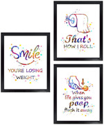 Dignovel Studios Unframed Set Of 3 8x10 Funny Bathroom Signs That Is How I Roll