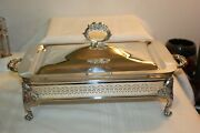 Vtg Silver Plate Chafing Dish Buffet With Lid And Pyrex Dish 11.75 X 7.5 232