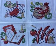 """Vintage Tablecloth - Cook Out Bbq Hot Dogs Lobster Steak - 65 X 54"""" - Wilendur"""